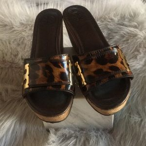 Tory burch leopard slides/ mules/ sandals
